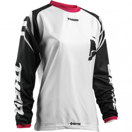 Dámsky dres Thor Sector Zones S8W Black / White / Pink